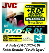 6 Pk JVC DVD+R DL Double Layer FOR +R DL Camcorders 55min 2.6GB Each VP-RDL26GU3
