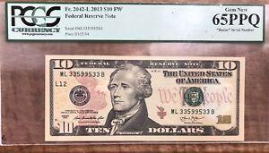 "$10 2013 FRN RADAR  SERIAL NUMBER PPQ65 PCG ""33599533"" (San Francisco) UNC GEM"