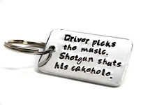 Supernatural Inspired Hand Stamped Key Chain, Driver Picks the Music (Brdg font)