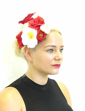 Large Red Ivory White Rose Flower Fascinator Headpiece Floral Rockabilly Hat A64
