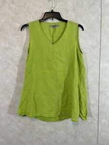 Flax Linen V Neck Sleeveless Lagenlook Sz S Lime Green Tunic Top Cottage Core