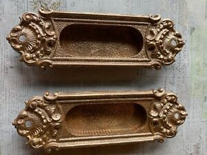 Lot of 2 Antique Victorian Window Sash Lifts EP 1849 Brass Architectural Salvage
