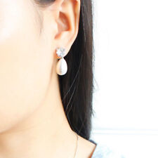 Women Princess Crystal Rhinestone Pearl Ear stud Dangle Drop Earrings Jewelry SU