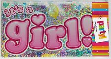 IT'S A GIRL PARTY BANNER BABY SHOWER HOLOGRAPHIC SHINY PINK SILVER LENGTH 262 CM