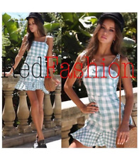 Retro Checkered Mini Dress (Green)