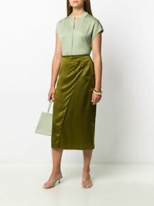NEW Vince Side Pleat Wrap Skirt in Olive - size 8 #P1075