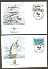 1990   MONTSERRAT-   4 x WWF FIRST DAY COVERS  - DOLPHINS