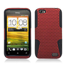 For HTC One V MESH Hybrid Silicone Rubber Skin Case Phone Cover Red