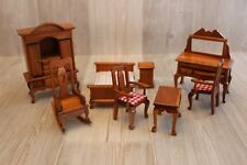 Ensemble meubles poupée bois - 8 pièces lit, armoire, chaises, table, coiffeuse