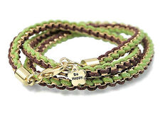"Be Happy Charm Friendship Wrap Bracelet Chain and Green Brown Cord  22"" Long"