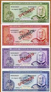 Specimen Set, Tonga, 1;2;5;10 Pa'anga, 1978, P-CS1, 002837, UNC