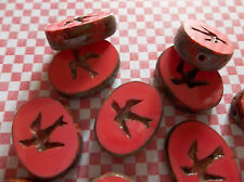 Czech Glass Bird Beads 16 X12mm Oval Opaque Red Coral Brown w Picasso Rims Qty 4