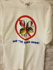 New listing No Y2K Bugs Here Beefy Hanes T-Shirt Vintage White Large 42-44 Funny Sanwa Bank