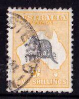 Australia 1918 Kangaroo 5/- Grey & Yellow 3rd Watermark Used - Listed Variety