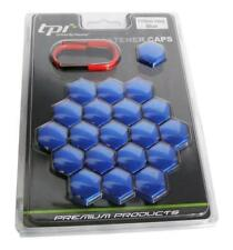 17mm TPI Hex Alloy Wheel Nut Bolt Covers With Removal Tools - Blue
