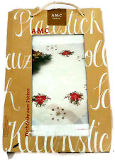 "Christmas Poinsettia Tablecloth Embroidery Kit 33"" x 33"" Germany AMC Exclusives"
