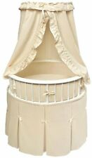 Baby Infant White Frame Elite Oval Bassinet with Ecru Waffle Bedding New 938