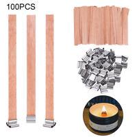 100PCS Holzdocht mit Halter Kerzen Docht Geschenk DIY Deko 15cmx1.25cm