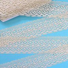 "10cm (4"") Quality Cream Cotton Clooney Lace Trim, Trimmings"