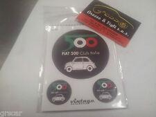 Adesivi Adesivo Auto Moto Vintage Fiat 500 Club Italia kit foglio 3 pezzi