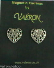SILVER TONE HEART SHAPE  MAGNETIC EARRINGS