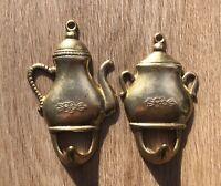Pair of Small Vintage Brass Hooks,Teapot & Sugar Bowl/Tureen,Floral Design