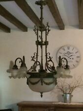 Antique French Empire 6 Arm 7 Light Dome Glass Brass Bronze Ornate Chandelier