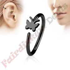 316L Surgical Steel Black Ion Plated Nose & Ear Cartilage Ring with Butterfly