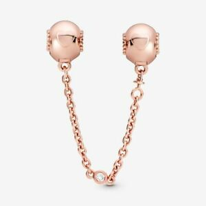 Pandora Embossed hearts safety chain clip in PANDORA Rose