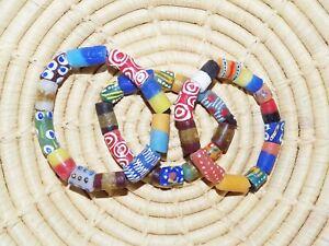 African Trade Bead style Stretch Bracelet Set of 3 tribal boho ethnic jbts12