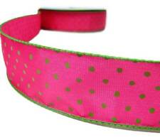 "5 Yards Watermelon Pink Green Polkadots Polka Dots Wired Ribbon 1 1/2""W"
