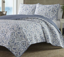 Tommy Bahama King Size Blue Grey Paisley Quilt Set Reversible Cotton Bedding