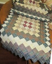 """TRIP AROUND THE WORLD MULTICOLORED NO TEA DYE QUILTED TABLE RUNNER 16"""" x 74"""""""