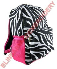Zebra Backpack Pink Fuchsia Full Size Embroidery Rhinestone Option