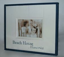 Beach House Memories Photo Frame with Rustic/Rough Beach House Look Wood Coastal