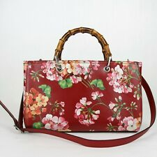 Gucci Red Leather Bloom Print Medium Shopper Tote Bag w/Bamboo Handles 323660