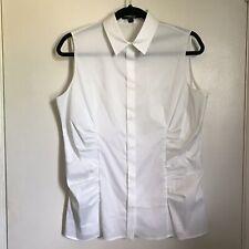 BOSS Hugo Boss Womens Sleeveless White Collared Button Down Shirt Size 10 Ruched
