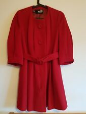 Ladies Moschino Red Wool 3/4 Sleeves Collarless Fit & Flare Style Coat UK 8 VGC