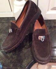 Salvatore Ferragamo Brown Suede Loafers With Signature Horseshoe Trim. Size 6.5