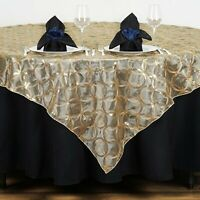 Gold Chemical Lace Sequin Table Overlay 85 x 85 inch Made in USA Wedding Party