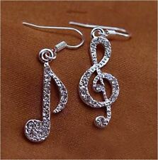 1 Pair - G Clef and Quaver Music Musical Note Silver Plated Crystal Earrings