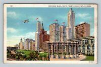 Chicago IL, Michigan Boulevard, Airplane, Linen Illinois Postcard