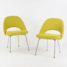 Vintage Knoll Eero Saarinen Executive Armless Side Chairs Green Boucle Pair