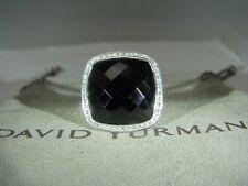 DAVID YURMAN AUTHENTIC  ALBION 17MM ONYX PAVE DIAMOND RING SIZE 8  W/DY POUCH