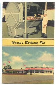 BOSSIER CITY LA - HARRY'S BARBECUE PIT ca1940 Linen Postcard