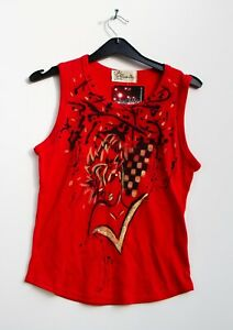 Vintage Red Gold Diva Hand Painted Vest Top Goth vtg 90s Stock Gobbolino