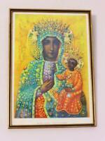 Vintage Black Madonna of Częstochowa Print in Timber Frame, Mary & Jesus Picture