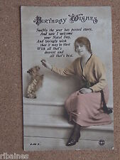 R&L Postcard: Birthday Wishes, Glamour Lady with Dog, Rotary, 1918