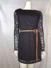 NWT! Black Crochet Lace Shift Dress With Belt by Jodi Christopher, Size:Small