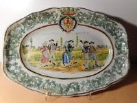 Plat ancien breton 19 siècle faience Quimper ? Bretagne ceramique française
